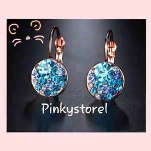 Jewelry - 💙Rose Gold Blue Crystal Earrings💙